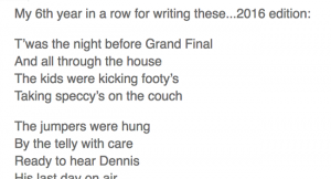 Clever AFL Grand Final '16 poem Image